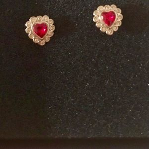 Red heart Swarovski Earrings with Box